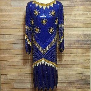 EUC Vintage Dynasty Style Full sequin dress size L